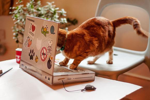 """【ネコまっしぐら?】おネコ様専用 """"ノートパソコン"""" が登場したよ! もっこもこ """"マウス"""" 付きで嬉しいニャ!!"""