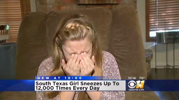 1日に1万2000回もくしゃみが出る少女 / 原因は不明! くしゃみのせいで食事もとれず学校にも行けない状態に