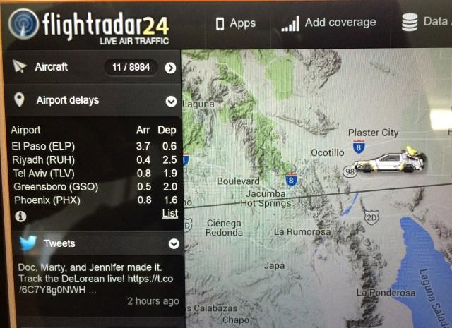 今すぐフライトトラッカーサイト「Flightrader24」を見てみろ! デロリアンが飛んでるぞ~!!