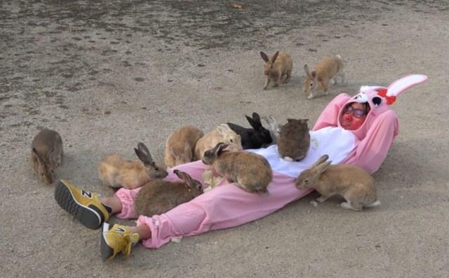 【ウサギの島】からだ中にエサを撒いて地面に寝てみた → ウサギの大群がお腹によじ登ってマジでしわあせすぎる!