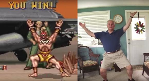【ほのぼの動画】中年親父に『スト2』の勝利ポーズを真似してもらったらこうなった
