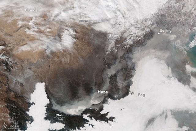 【中国ヤバイ】最悪大気汚染の中国が宇宙から激写される / NASAが公開! 上空から見てもやっぱりヤバイ