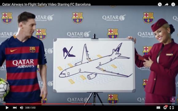 【動画あり】FCバルセロナと飛行機が完全リンク! カタール航空の機内安全ビデオが見入ってしまうほど超豪華