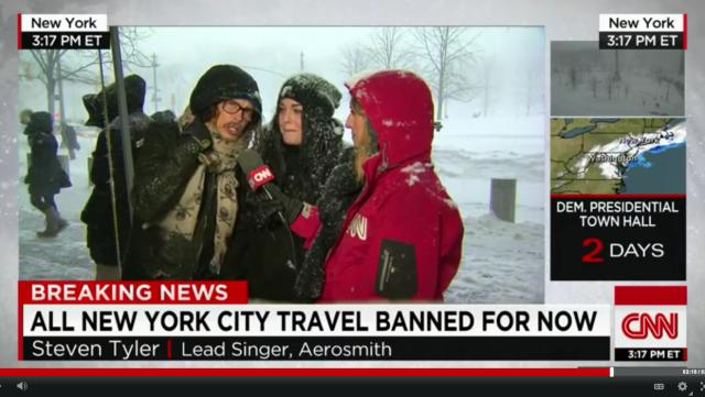【動画あり】「エアロスミス」のスティーブン・タイラーさんがCNNの大雪レポートに乱入 → タイラーさん「家にいろ!」
