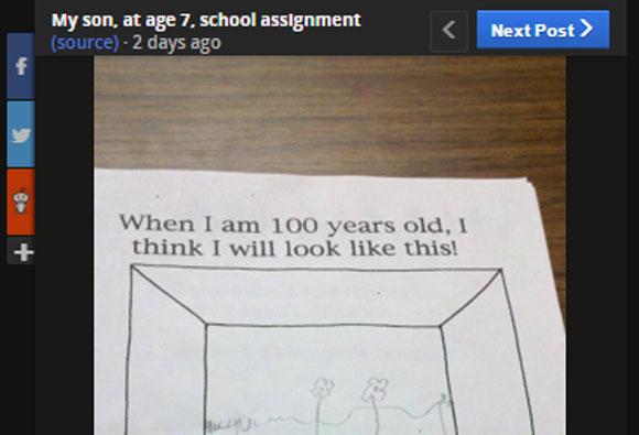 """「100才になった自分の姿を描きなさい」 → 7才の少年が """"現実的すぎる絵"""" を描いてネット民ざわつく"""