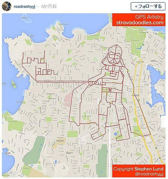 """Googleマップとアプリを使って """"地図に図柄を描く"""" サイクリストが「体を張ったGPSアート」を展開! 街全体がキャンバスに!!"""