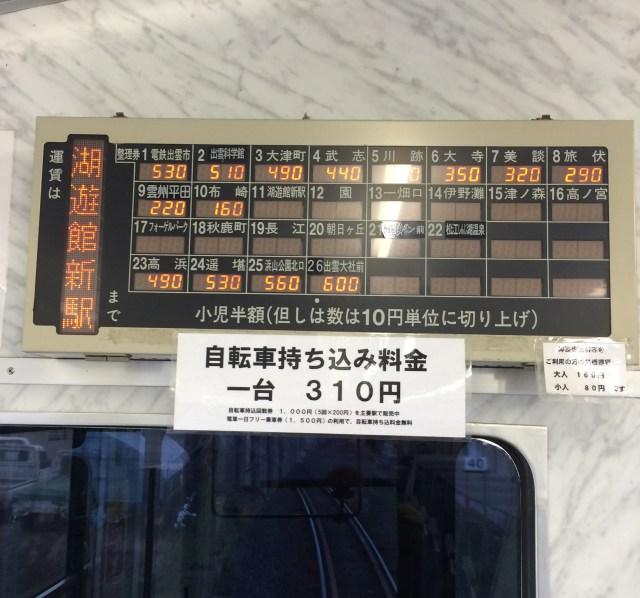 【明日使える豆知識】私鉄一畑電車は310円払うと自転車を持ち込むことができる
