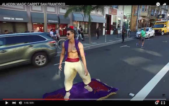 【動画】夢の国でデビューできるほどのクオリティ! 空飛ぶ絨毯に乗ったリアルアラジンが激撮される