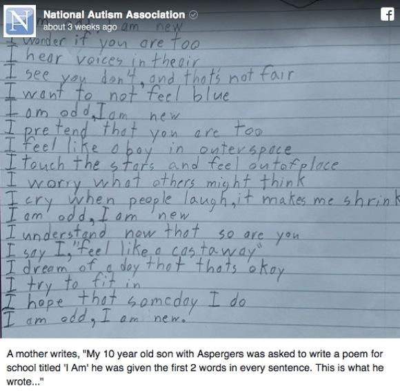 """アスペルガー症候群の少年が書いた """"一片の詩"""" が美しいと話題 / ネットの声「私も同じように感じることがある」"""