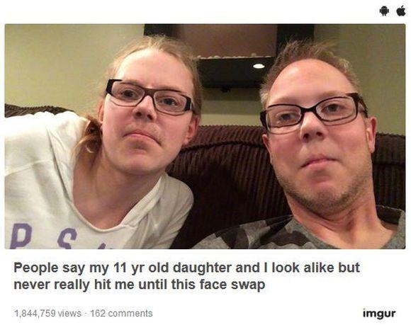 パパと娘が『フェイススワップ』で顔を入れ替えたらクリソツすぎて笑えなかった! 「血のつながりってスゴいな~」と思っちゃう件