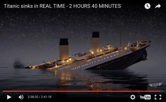 【全画面推奨】タイタニックが沈む様子がリアルタイムで見られる動画 / 2時間40分の超大作だ!
