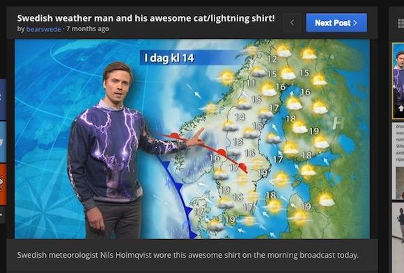 【衝撃画像】イケメンなのに絶望的にダサい! スウェーデンのお天気お兄さんが着ているトレーナーが想像を凌駕するクオリティ