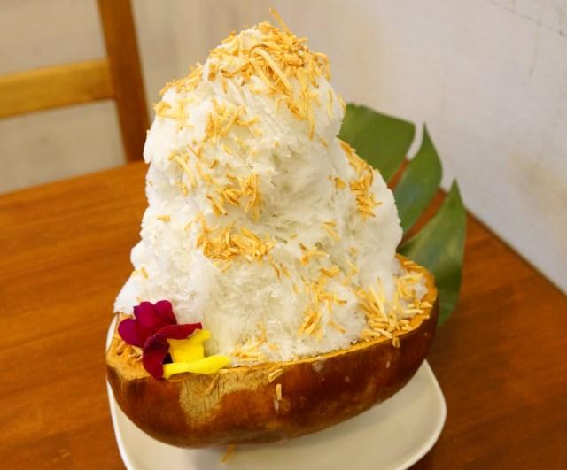 【カキ氷】旨味がギュッと詰まった『山口果物』の「ココナッツかき氷」がハッとするほど美味しい! さすが果物専門店や!!