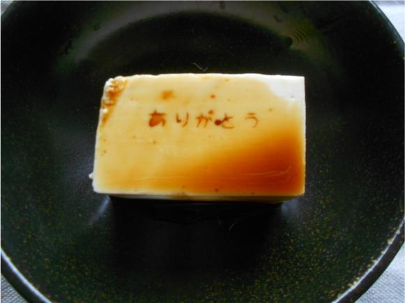 【100均グッズ】醤油をかけると文字が出てくる「メッセージ豆腐」が作れるアイテムがキャンドゥにあるぞ!