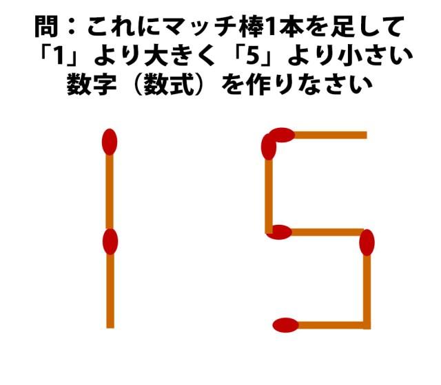 """【頭の体操クイズ】「1 5」にマッチ棒を1本加えて """"1"""" より大きくて """"5"""" より小さい数字(数式)を作りなさい"""