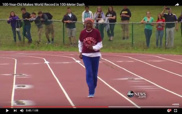 【衝撃陸上動画】100歳のスーパーおばあちゃんが100メートル走で世界新記録を樹立する