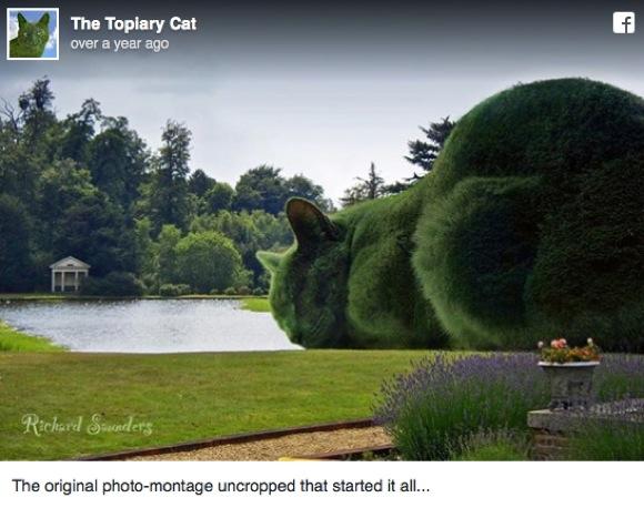 お庭に巨大ニャンコ登場! ある男性の「亡き飼いネコが登場する作品」がイマジネーションあふれる