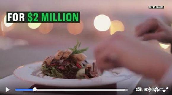 こちらが2億円ディナーデートの内容です / ヘリで夜景 → 海でクルーズ → ロールスロイス → 1万本のバラの花 → ダイヤの箸で18コースのディナーに舌鼓…