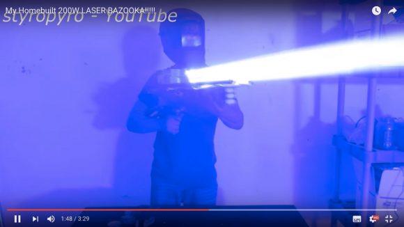 【動画】レーザーポインターの約4万倍のパワー! 手作りの「レーザーバズーカ」が危険すぎる件