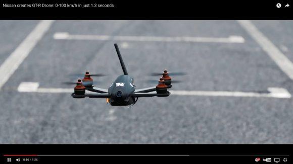 【動画】わずか1.3秒で時速100キロに到達! 世界最速レベルの「Nissan GT-R ドローン」が爆誕!!