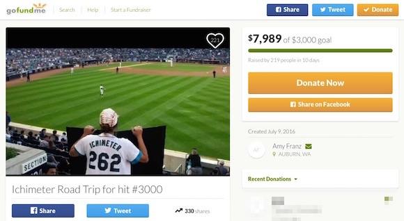 【いい話】イチロー選手のメジャー通算3000本安打に立ち会うために「イチメーターのエイミーさん」が資金を募った結果 → 倍額以上が集まる
