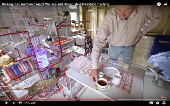 【衝撃動画】69歳のおじいちゃんが発明した「ボタンひとつで朝食を作ってくれるマシン」が超優秀! 一家に一台欲しいレベルでカッコイイ!!
