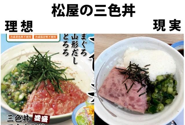 松屋の「三色丼」がフリスビーと話題に! 実際に注文したらビート板だった!!