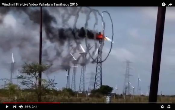【衝撃動画】風車が炎上すると煙が美しいことになる