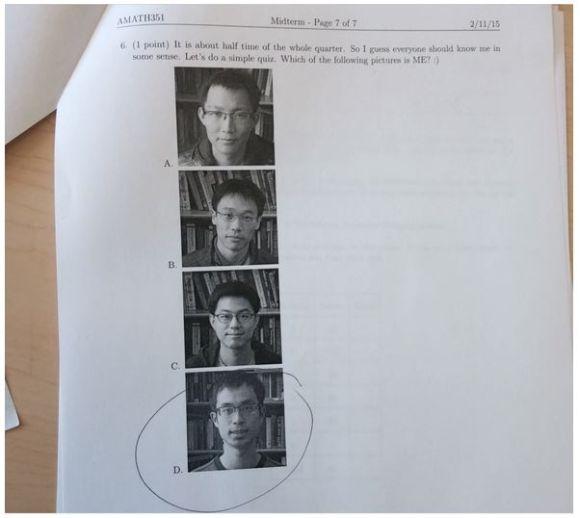 もし間違えたらヤバイ試験問題が話題 / 先生「どれが私の写真か当てなさい」