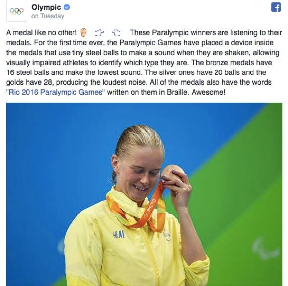 パラリンピック選手が「メダルを耳にあてる仕草」をする理由 → メダルの中に小さなスチールボールが入っていてメダルを振ると音がする