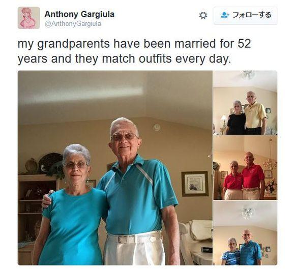 毎日欠かさずペアルックを着る老夫婦がネットで人気者に! 孫に「今日のコーディネート」写メを送るカップルが超お茶目!!