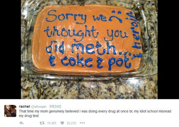 娘がドラッグをヤリまくっていると疑った母親が「ネタ満載のケーキ」を作って謝罪 → 娘(笑) → 家族で楽しむ