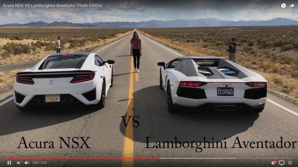 【動画】速いのはどっちだ?「ホンダ・新型NSX」vs「ランボルギーニ・アヴェンタドール」