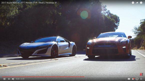 【動画】スポーツカー頂上決戦!「ホンダ 新型NSX」と「日産 GT-R」はどちらが速いのか!?