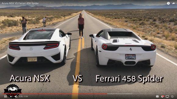 【動画】高級スポーツカー対決!「新型NSX」vs「フェラーリ458スパイダー」はどちらが速いのか?