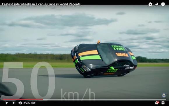 【衝撃動画】片輪走行の車が時速186キロで爆走してギネス世界記録を更新