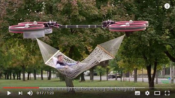 ドローンにハンモックを吊れば空の旅が可能に!? 空飛ぶ夢を実現してくれそうな海外のCMがオモシロい!
