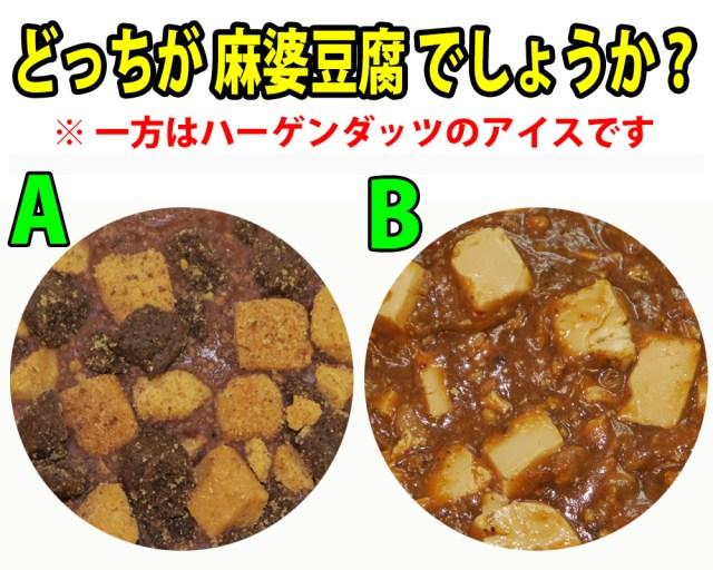 【クイズ】「A」と「B」のどっちが麻婆豆腐でしょうか? 一方はハーゲンダッツです