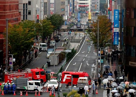 【緊急レポ】博多道路陥没事故、現場周辺の現在のようす
