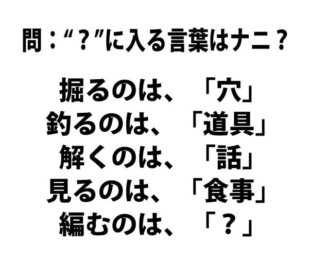 """【頭の体操クイズ】""""?"""" に入る言葉はナニ?"""