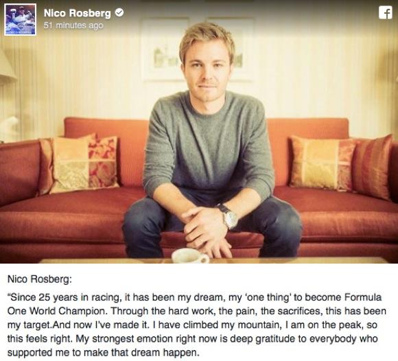 【F1】ワールドチャンピオンのニコ・ロズベルグが引退を表明 / ファンからは「考え直して」と惜しむ声