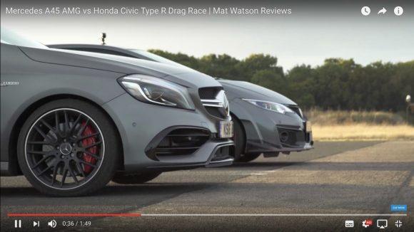 【動画】約300万円の価格差は本物?「シビック・タイプR」と「AMG A45 4MATIC」がドラッグレースをやったらこうなった!