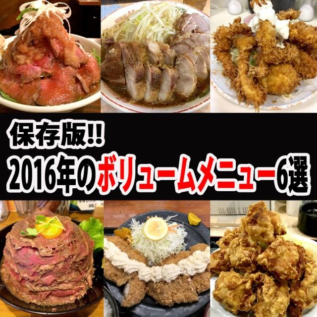 【保存版】2016年のボリュームメニュー6選