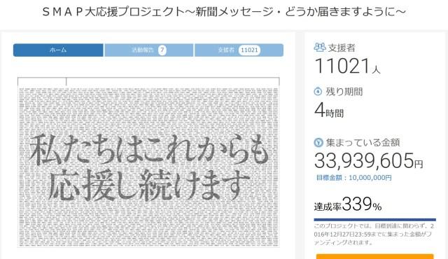 【締め切り間近】「SMAPへのメッセージ」を全国紙朝刊に掲載するプロジェクトに支援続々 / 目標額を上回り3000万円超