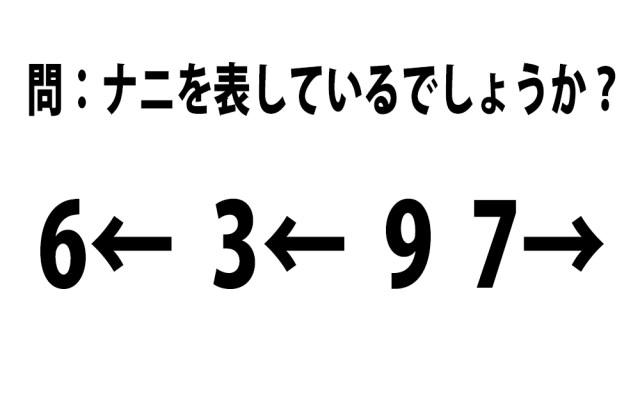 【頭の体操クイズ】「6← 3← 9 7→」はナニを表しているでしょうか?