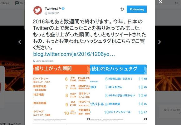 【2016年】Twitterが『最も使われたハッシュタグ』を発表! 3位「#Mステ」2位「#ポケモンGO」そして1位は……!