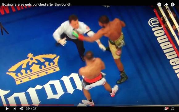 【衝撃格闘動画】ボクシングの試合でレフェリーがKOされる