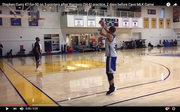 【衝撃バスケ動画】落とす気がしねえ! ステファン・カリーの3ポイントシュートが練習の時点でエグすぎる