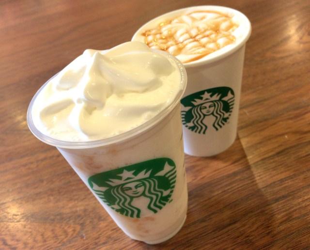 【スタバ新作】優しい味わい「ホワイトチョコレート&ピーチクリームフラペチーノ」を飲んでみた! カフェインレスのディカフェもはじまってるよ!!