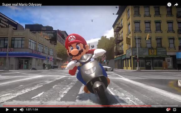 2017年冬に発売予定の『スーパーマリオ オデッセイ』を『GTA』風にした動画が大ヒット! R−18仕様になったマリオが街を疾走するとヤバいことに!!